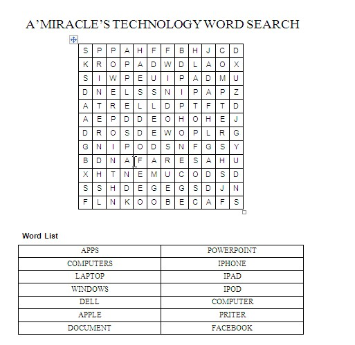 Word Search - A'miracle Portfolio